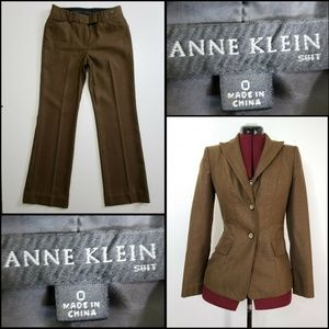 Anne Klein Woman  Blazer Suit Pants Size 0 Brown